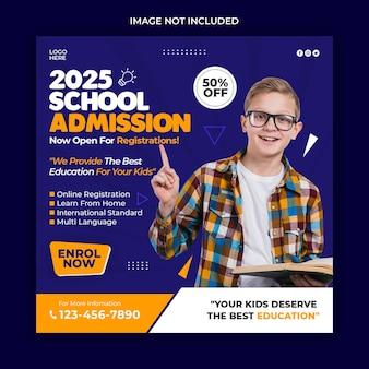 Modèle de bannière de publication instagram d'admission à l'école