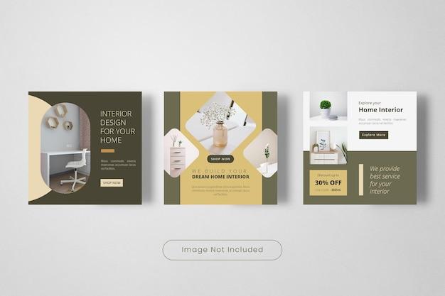 Modèle de bannière de publication instagram de design d'intérieur de maison de rêve