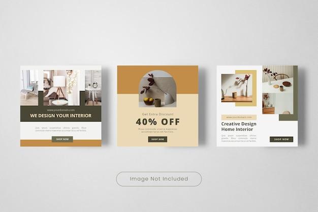 Modèle de bannière de publication instagram d'intérieur de conception créative