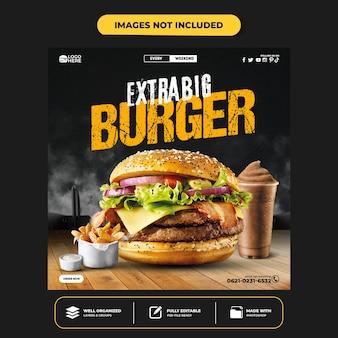 Modèle de bannière de publication instagram de médias sociaux delicious burger