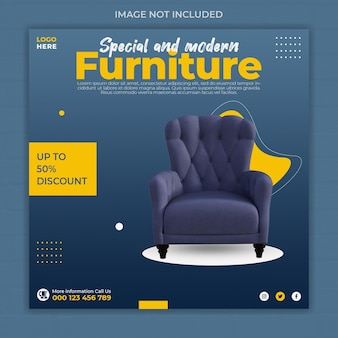 Modèle de bannière de publication instagram de médias sociaux de meubles