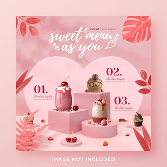 Modèle de bannière de publication instagram sur les médias sociaux de promotion du menu des boissons de la saint-valentin