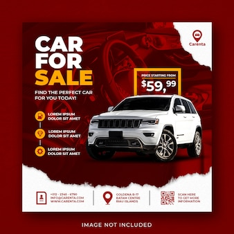 Modèle de bannière de publication instagram sur les médias sociaux de promotion de la vente de voitures