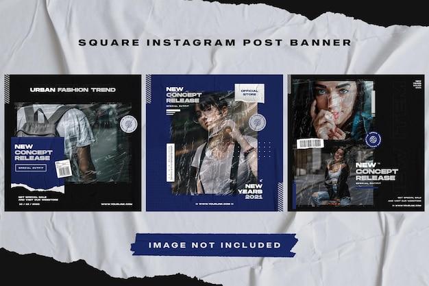 Modèle de bannière de publication instagram de meubles bleu foncé