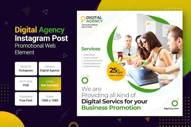 Modèle de bannière de publication instagram pour agence numérique