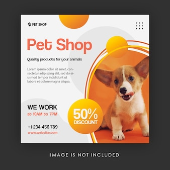Modèle de bannière de publication instagram pour la promotion d'une animalerie sur les médias sociaux
