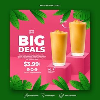Modèle de bannière de publication instagram pour la promotion du menu des boissons