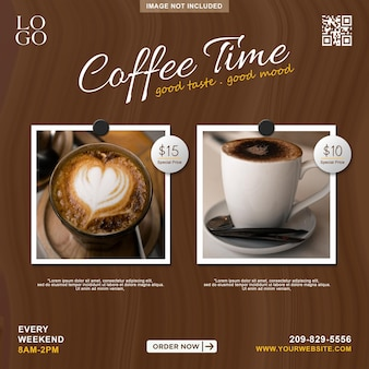 Modèle de bannière de publication instagram pour la promotion du menu café sur les médias sociaux