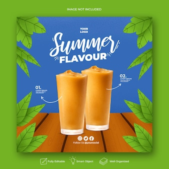 Modèle de bannière de publication instagram pour la promotion du menu d'été sur les médias sociaux