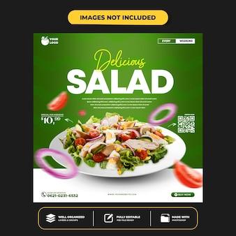 Modèle de bannière de publication instagram pour la promotion d'un menu sain sur les médias sociaux
