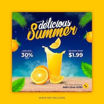 Modèle de bannière de publication instagram de promotion de menu de boissons d'été