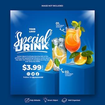Modèle de bannière de publication instagram de promotion de menu sur les médias sociaux