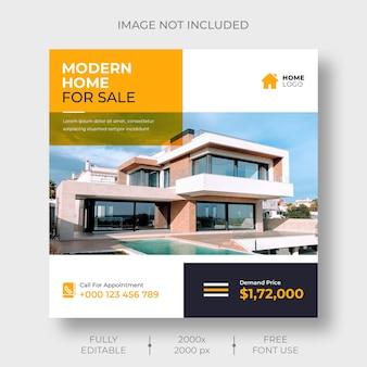Modèle de bannière de publication de médias sociaux immobiliers ou d'instagram