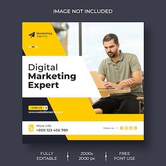Modèle de bannière de publication de médias sociaux et d'instagram de marketing numérique