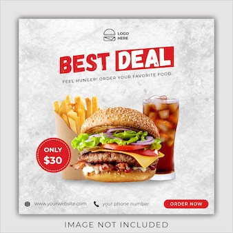 Modèle de bannière de publication de médias sociaux instagram menu promotion burger