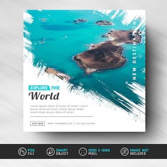 Modèle de bannière de publication de médias sociaux instagram pour voyager