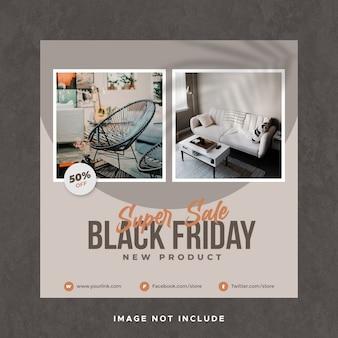 Modèle de bannière de publication de médias sociaux instagram vente vendredi noir