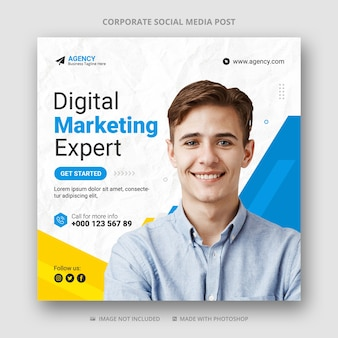 Modèle de bannière de publication de médias sociaux de marketing numérique