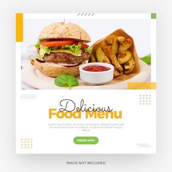 Modèle de bannière de publication de médias sociaux avec menu burger