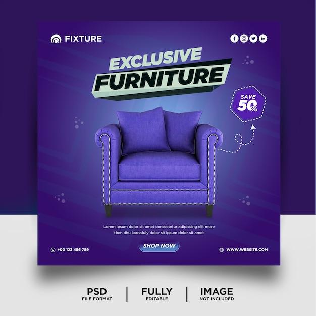 Modèle de bannière de publication de médias sociaux de produit de meubles de couleur pourpre