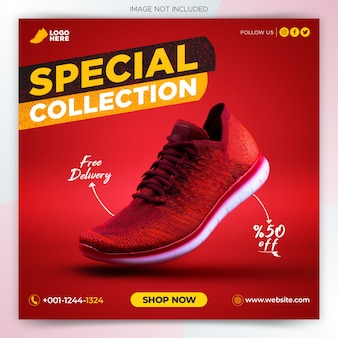 Modèle de bannière de publication de médias sociaux de promotion de chaussures de sport