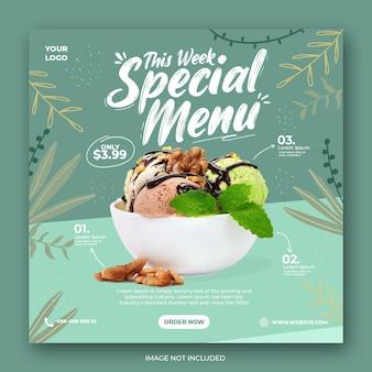 Modèle de bannière de publication de médias sociaux de promotion de menu de crème glacée