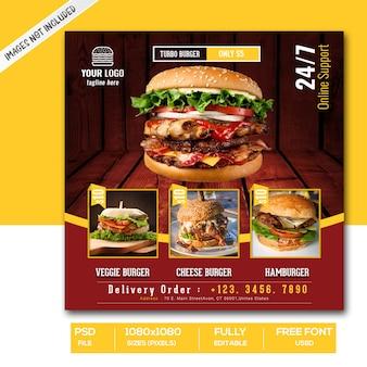 Modèle de bannière de publication de médias sociaux de promotion de menu de nourriture de hamburger ou de restauration rapide instagram