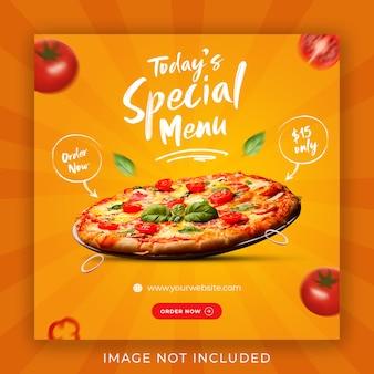 Modèle de bannière de publication de médias sociaux de promotion de menu de nourriture de pizza