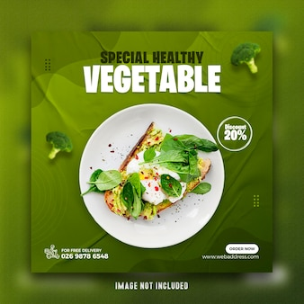 Modèle de bannière de publication de médias sociaux de restaurant de nourriture saine