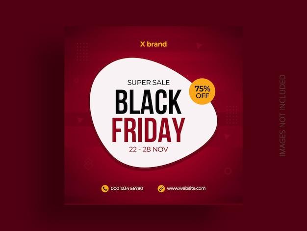 Modèle de bannière de publication de médias sociaux vendredi noir et flyer carré