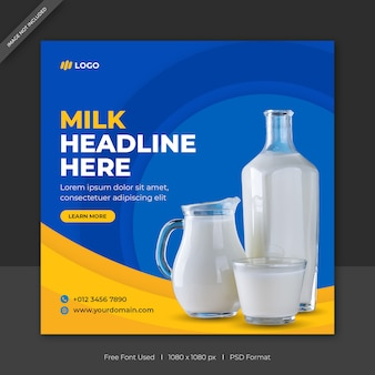 Modèle de bannière de publication de médias sociaux de vente de lait ou poste carré de vente de produit