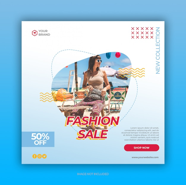 Modèle de bannière et publication de médias sociaux de vente de mode d'été coloré bleu clair
