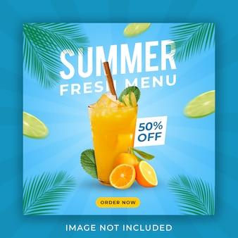 Modèle de bannière de publication de menu de boisson d'été instagram