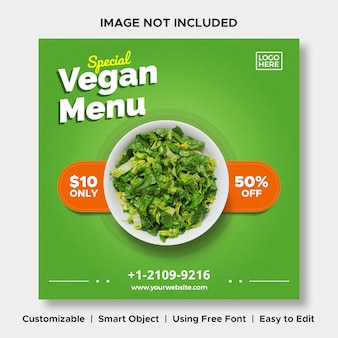 Modèle de bannière de publication de menu de réduction de nourriture spéciale végétalienne sur les médias sociaux instagram