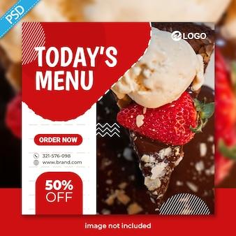 Modèle de bannière de publication de nourriture pour les médias sociaux instagram premium