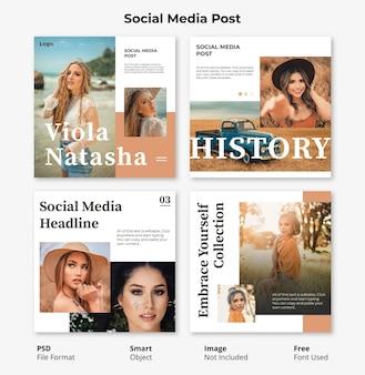Modèle de bannière de publication sociale modifiable fashion square minimal