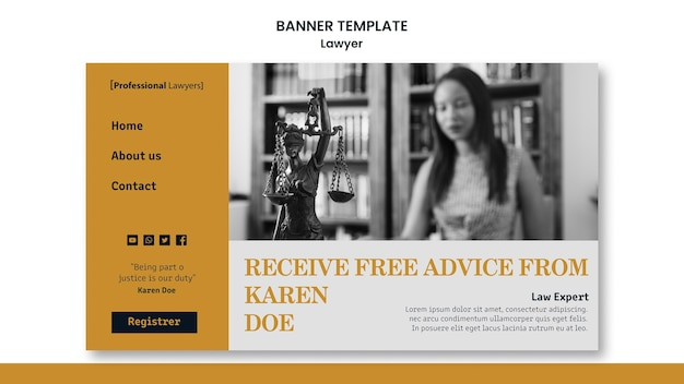 Modèle de bannière publicitaire de cabinet d'avocats