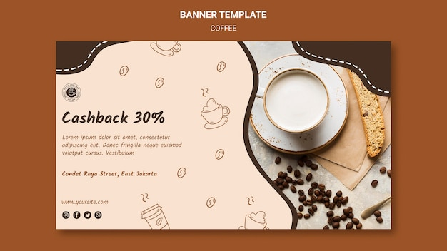 Modèle de bannière publicitaire de café