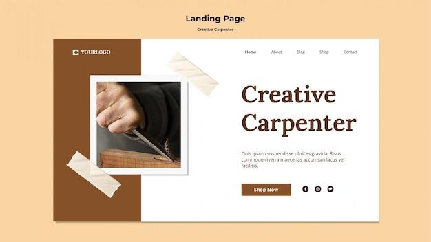 Modèle de bannière publicitaire de charpentier créatif