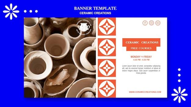 Modèle de bannière publicitaire de créations en céramique