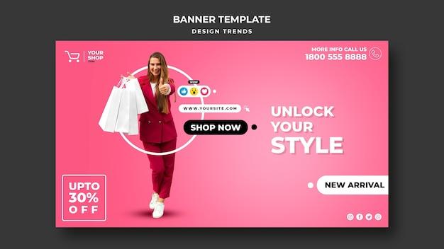 Modèle de bannière publicitaire femme shopping