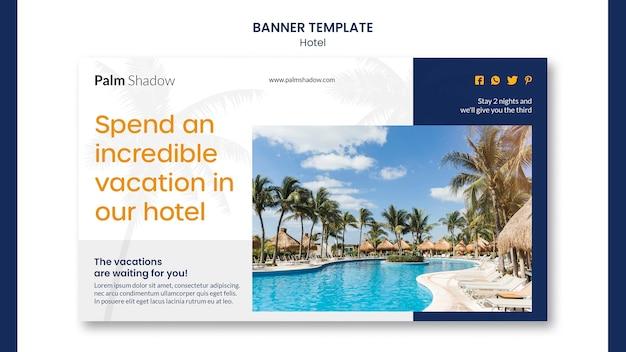 Modèle de bannière publicitaire d'hôtel