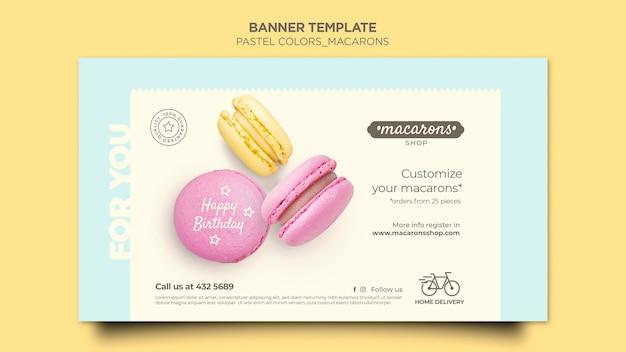 Modèle de bannière publicitaire macarons shop