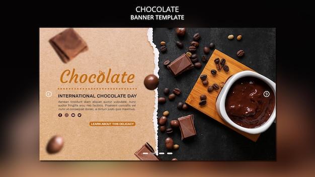 Modèle de bannière publicitaire de magasin de chocolat