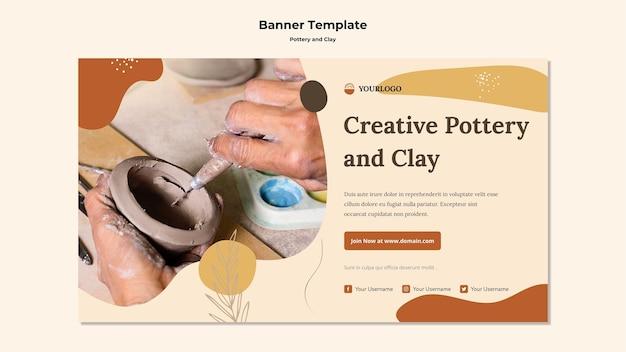 Modèle de bannière publicitaire de poterie et d'argile