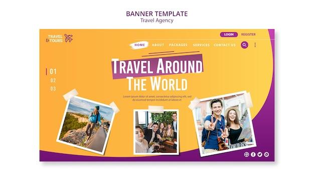 Modèle de bannière publicitaire pour agence de voyage