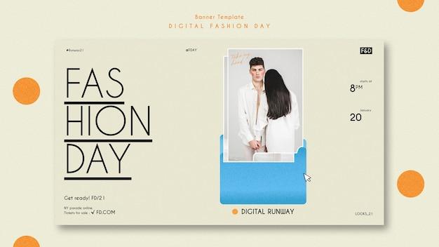 Modèle de bannière publicitaire pour le jour de la mode