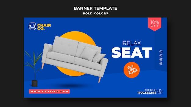 Modèle de bannière publicitaire pour magasin de meubles