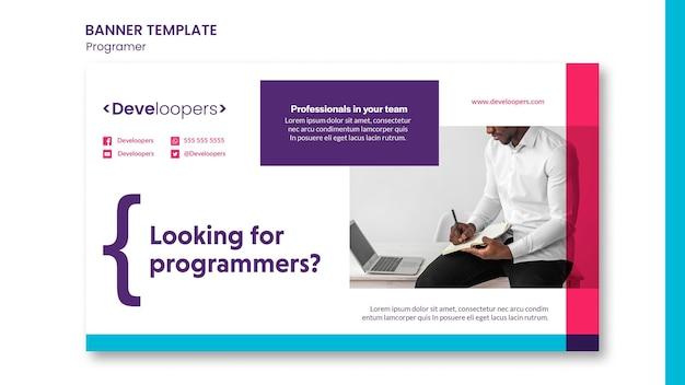 Modèle de bannière publicitaire de programmeur