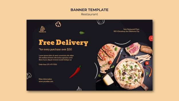 Modèle de bannière publicitaire de restaurant italien